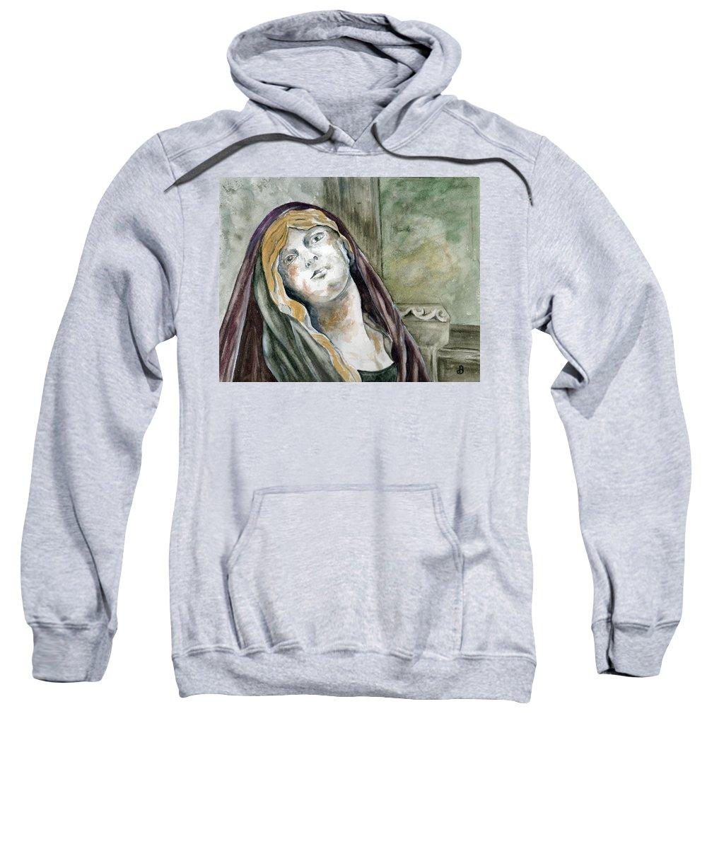 Portrait Sweatshirt featuring the painting Longing by Brenda Owen