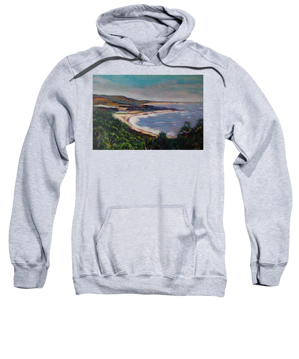 Half Moon Bay Sweatshirt featuring the painting Looking Down On Half Moon Bay by Carolyn Donnell