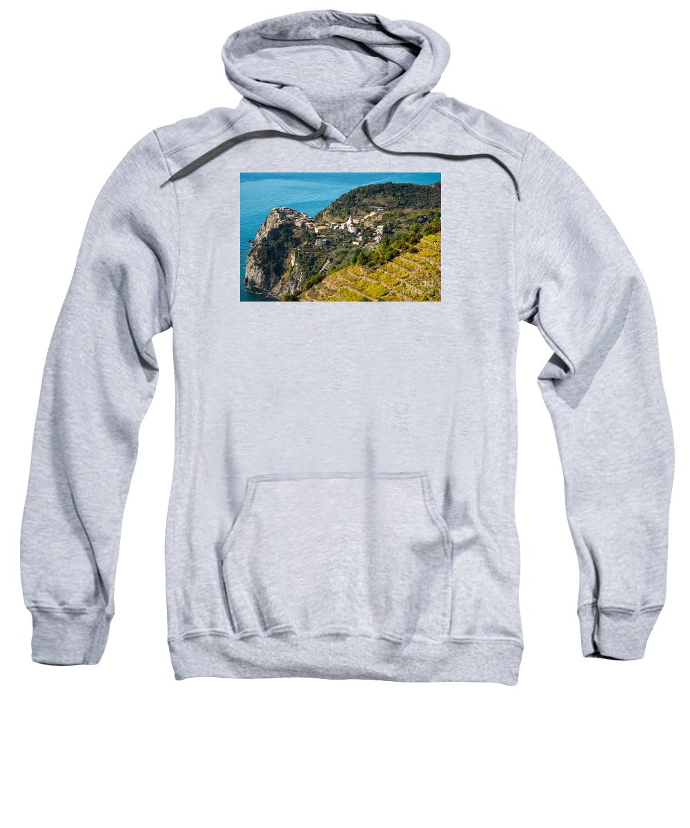 Italy Sweatshirt featuring the photograph Looking Down Onto Corniglia by Prints of Italy