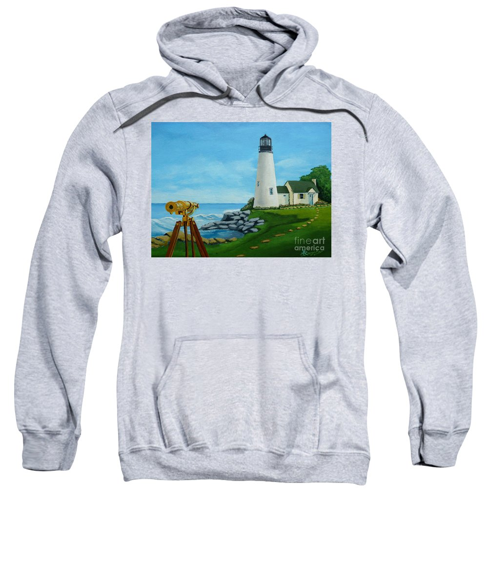 Lighthouse Sweatshirt featuring the painting Looking Out To Sea by Anthony Dunphy