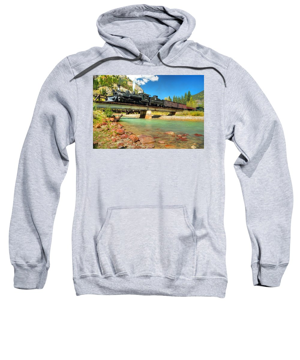 Steam Train Photographs Sweatshirt featuring the photograph Looking Up From The Riverbed by Ken Smith