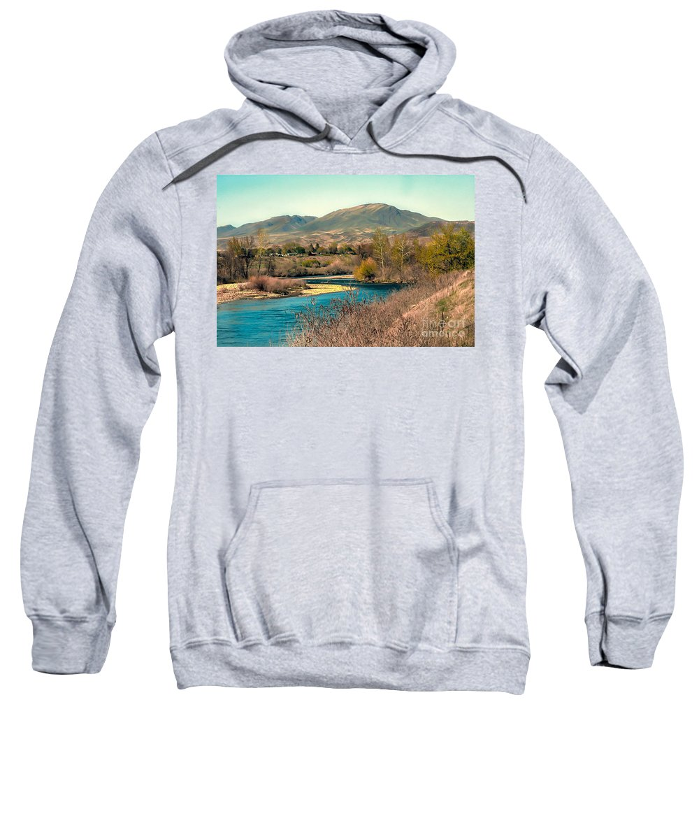 Emmett Sweatshirt featuring the photograph Looking Up The Payette River by Robert Bales