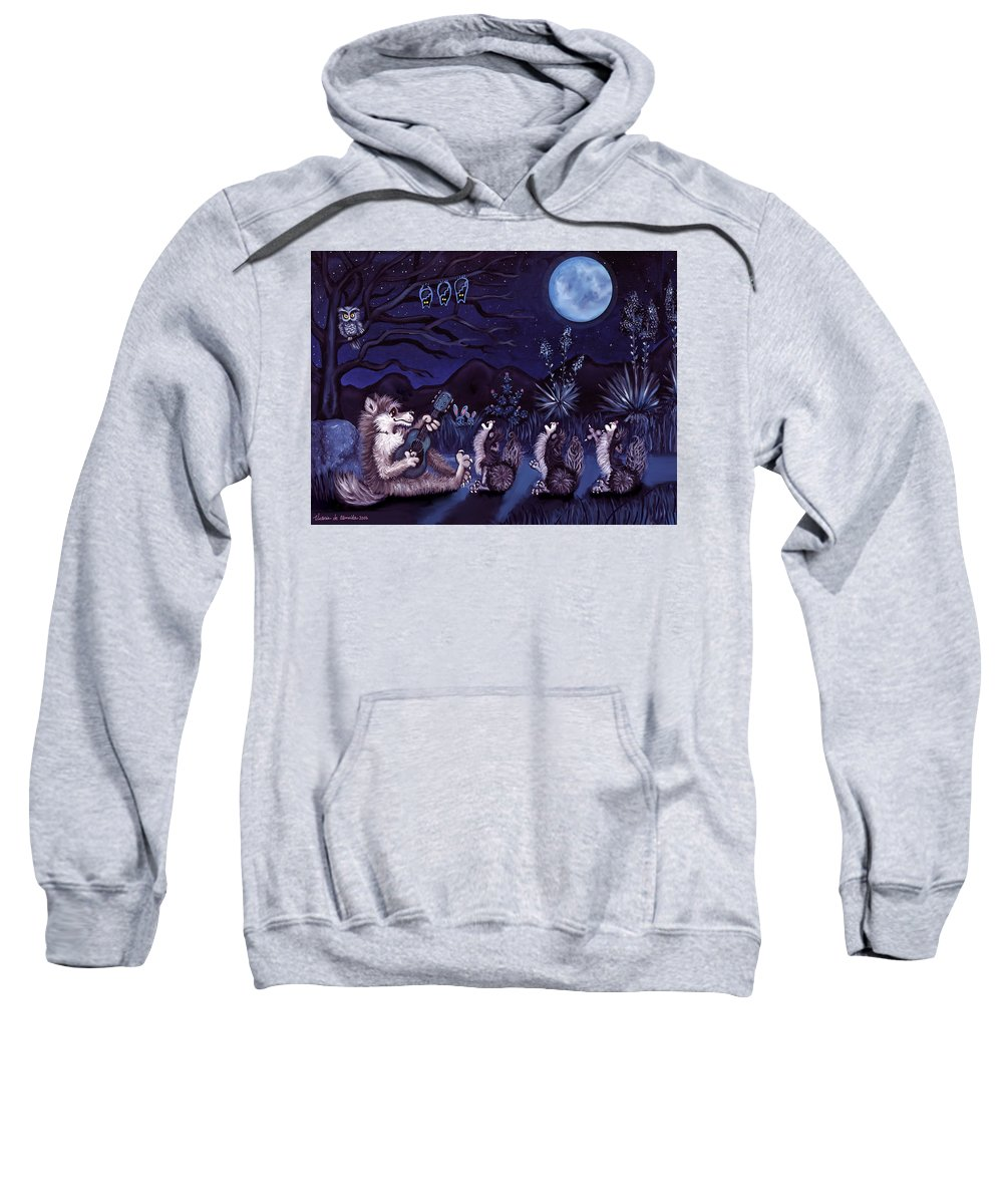 Coyote Sweatshirt featuring the painting Los Cantantes Or The Singers by Victoria De Almeida