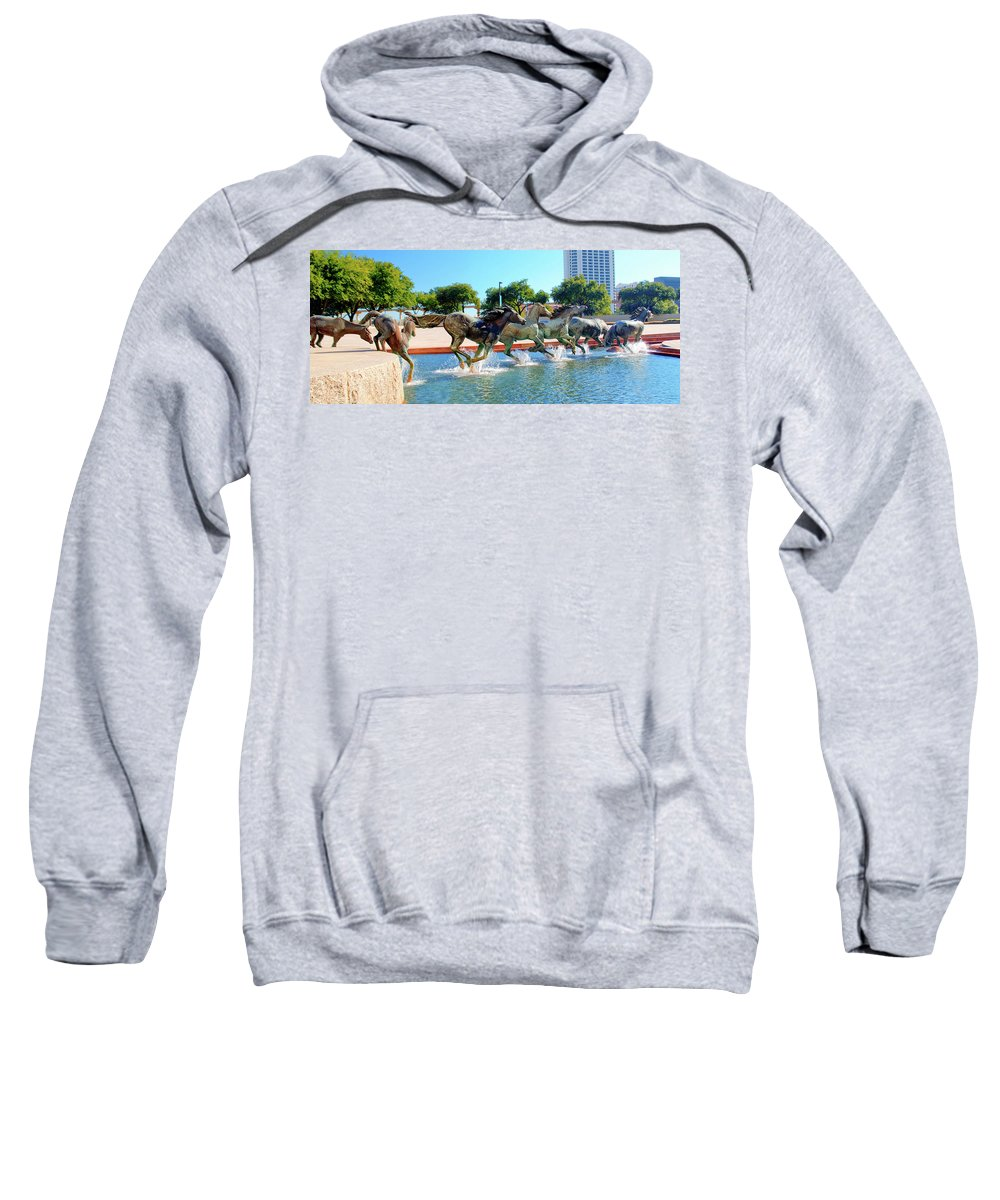 Sculptures Sweatshirt featuring the photograph Los Colinas Mustangs 14698 by Guy Whiteley