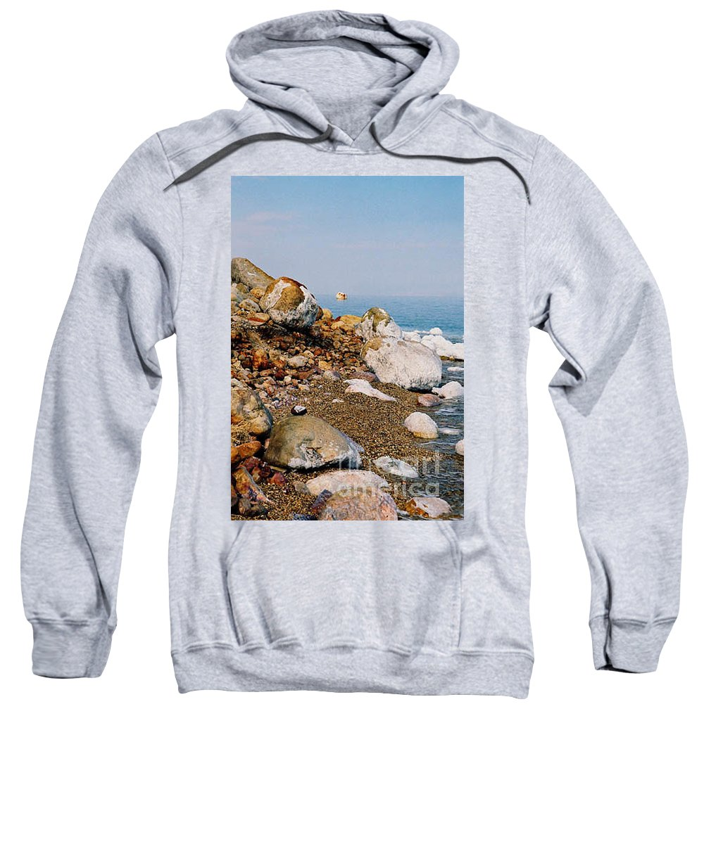 Dead Sea Sweatshirt featuring the photograph Lot's Wife by Kathy McClure