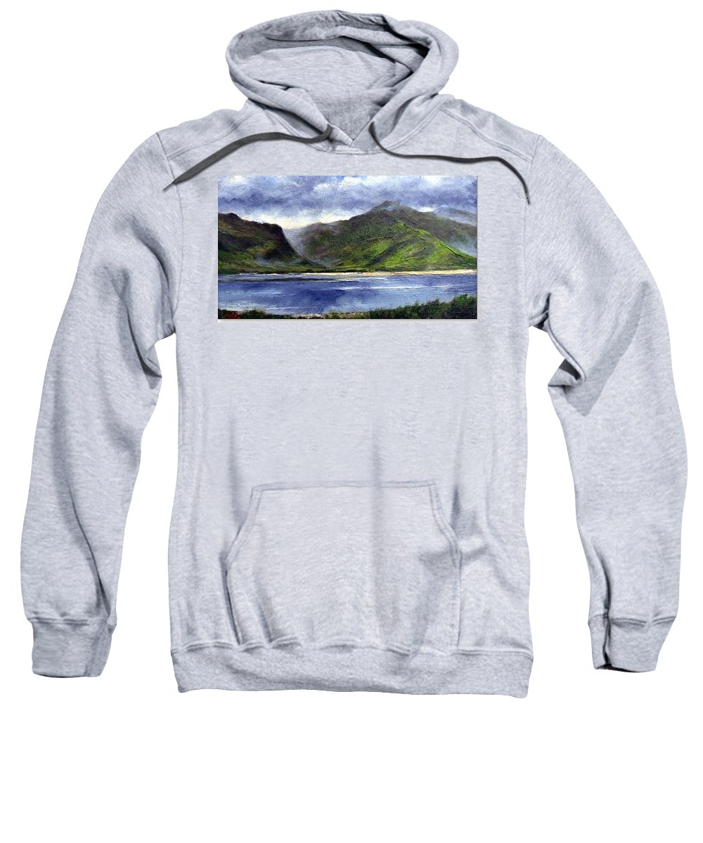 Irish Sweatshirt featuring the painting Loughros Bay Ireland by Jim Gola