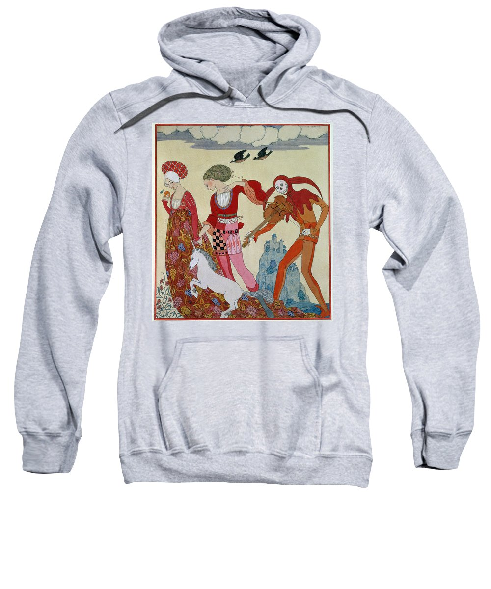 Playing Sweatshirt featuring the painting Love Desire And Death by Georges Barbier