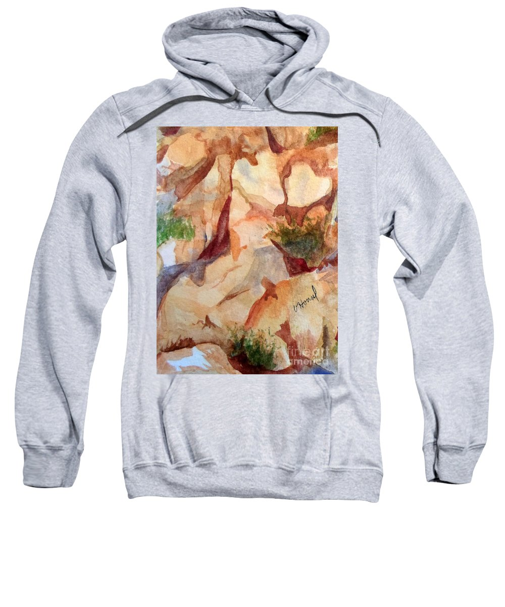 Heart Sweatshirt featuring the painting Love In The Rocks Medjugorje 2 by Vicki Housel