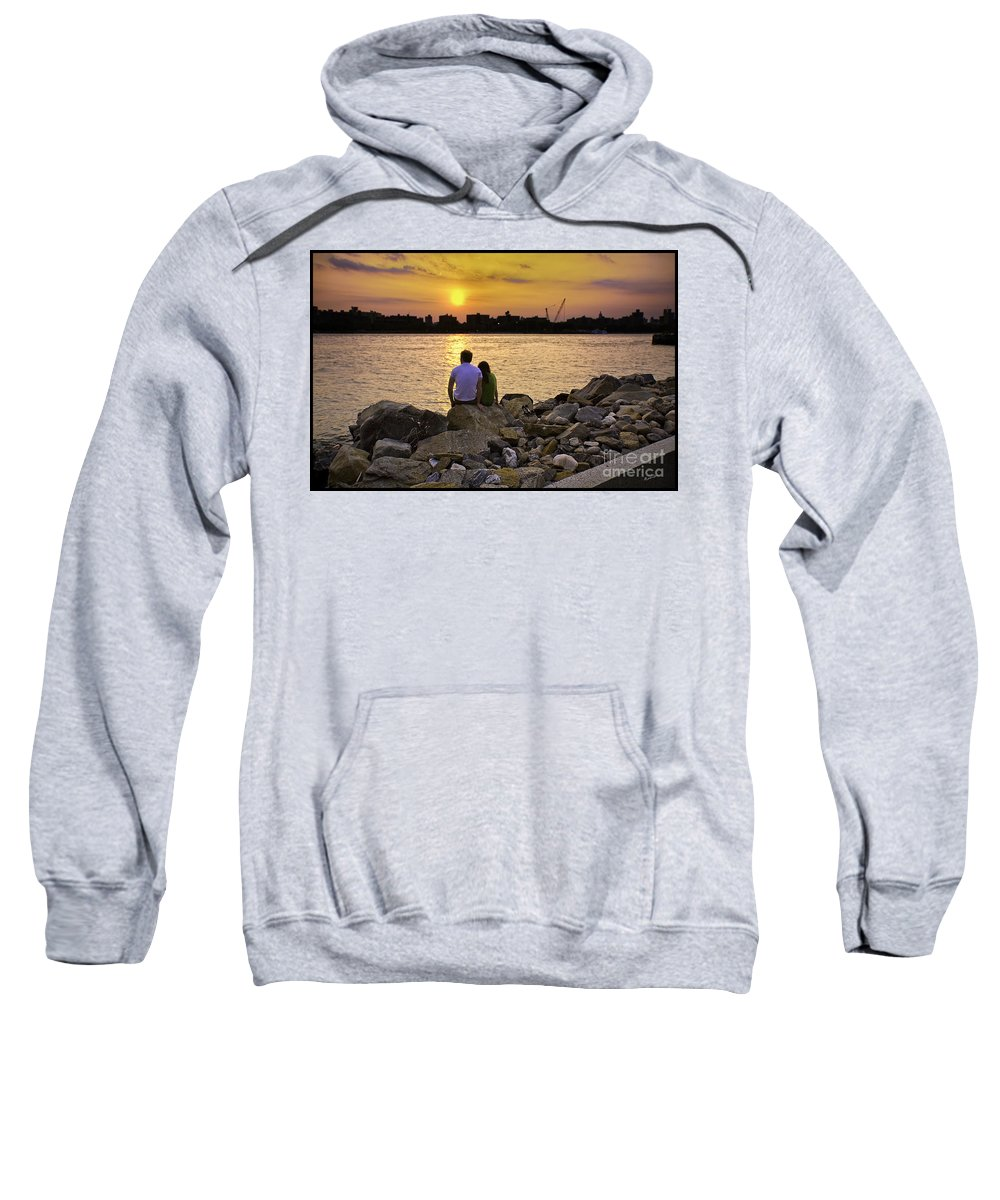 Man Sweatshirt featuring the photograph Love On The Rocks In Brooklyn by Madeline Ellis