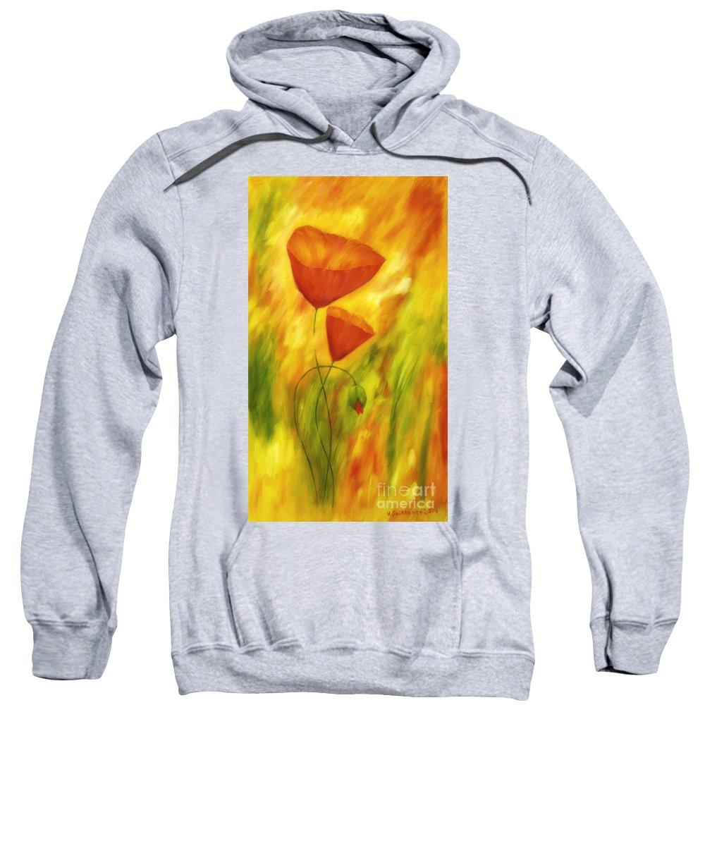 Abstract Sweatshirt featuring the painting Lovely Poppies by Veikko Suikkanen