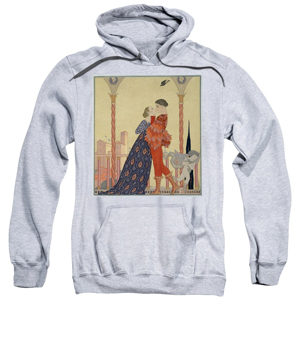 Lover Sweatshirt featuring the painting Lovers On A Balcony by Georges Barbier