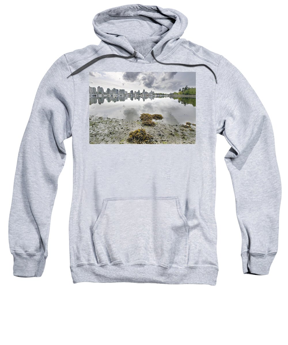 False Sweatshirt featuring the photograph Low Tide At False Creek In Stanley Park by Jit Lim