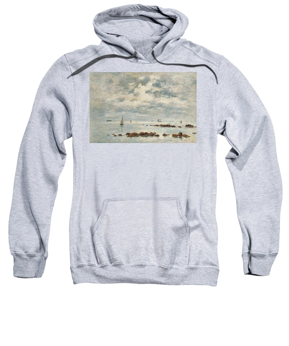 Low Tide; Ebb; Coast; Coastal; Seascape; Sky; Skyscape; Calm; Peaceful; Tranquil; Boats; Sailing Boats; Rocks; Clouds; Blue; Saint Vaast La Hougue; Saint-vaast-la-hougue; Impressionist Sweatshirt featuring the painting Low Tide Saint Vaast La Hougue by Eugene Louis Boudin
