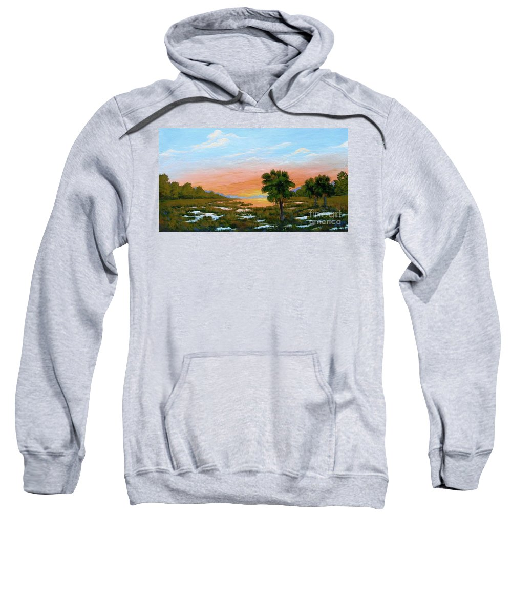 Landscape Sweatshirt featuring the painting Lowcountry Sunrise by Jerry Walker