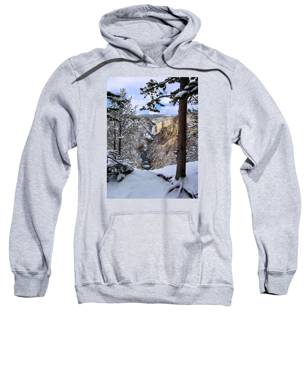 Waterfall Sweatshirt featuring the photograph Lower Yellowstone Falls In October by Robert Woodward