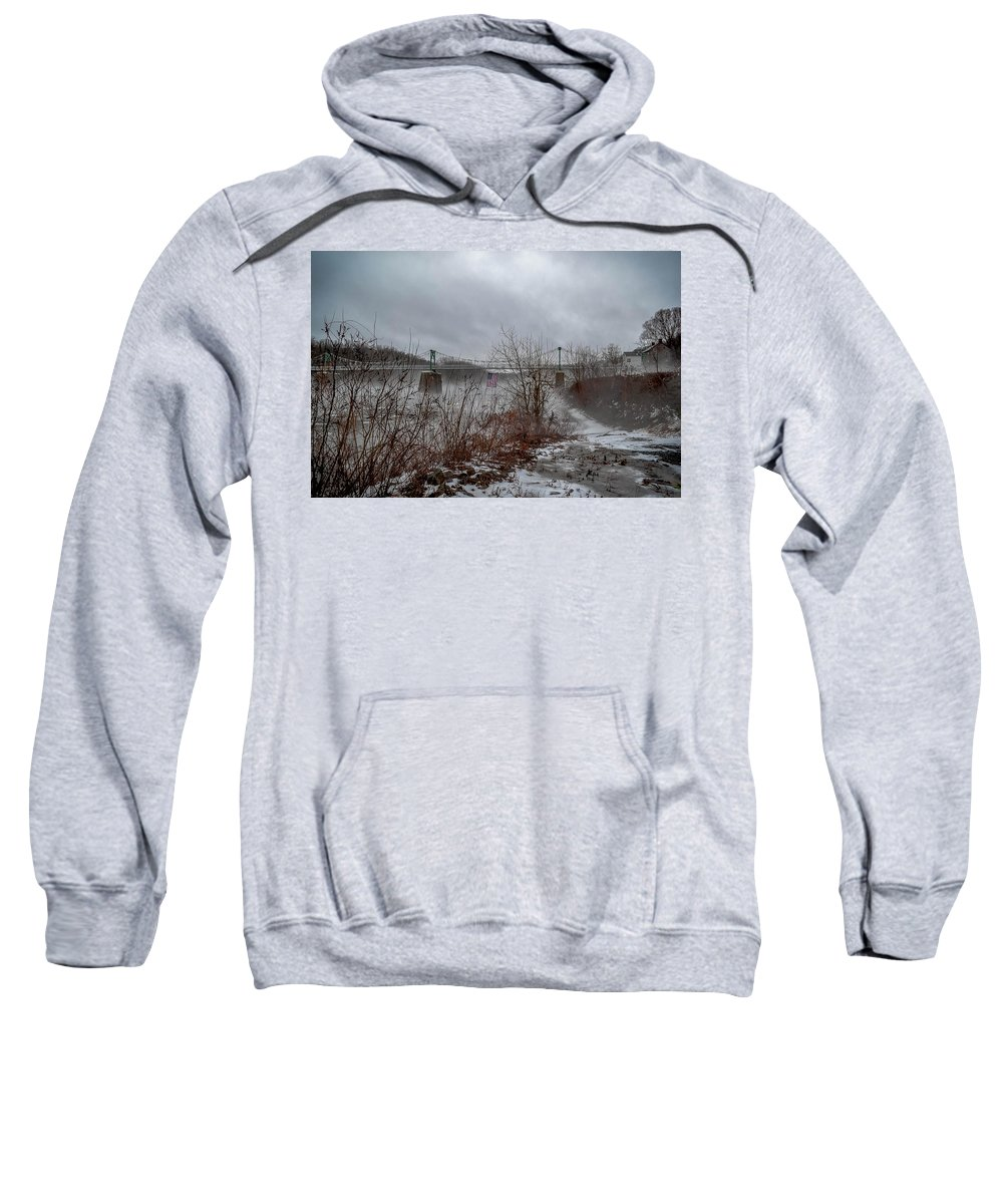 Lumberville Bridge Bucks County Sweatshirt featuring the photograph Lumberville Bridge Bucks County by Michael Brooks
