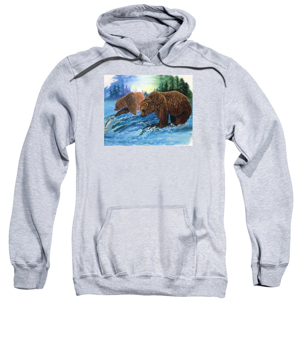 Grizzly Bear Sweatshirt featuring the painting Lunch Break by Sherry Shipley