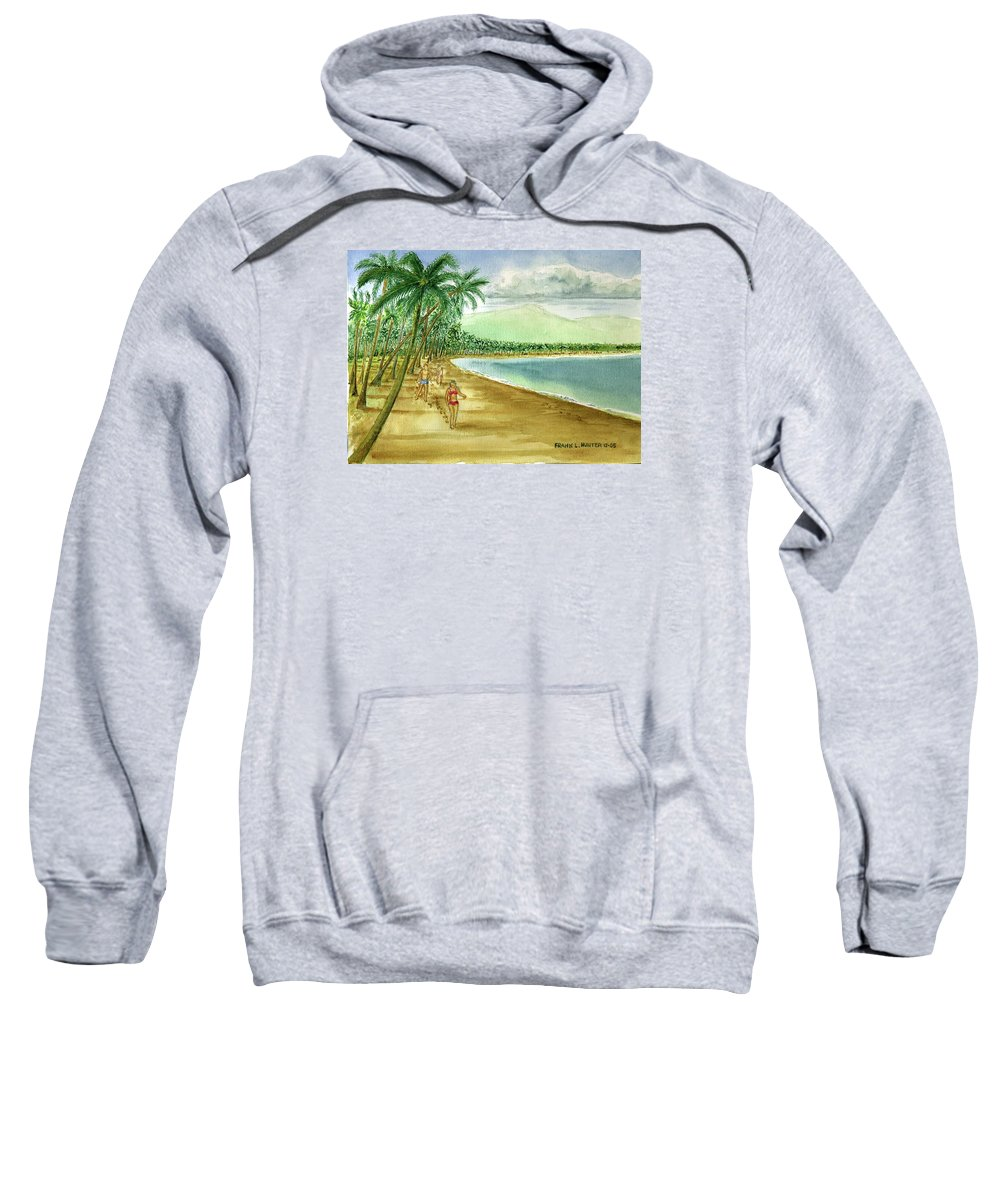 Luquillo Beach El Yunque Mountains Girl Red Bikini Palm Trees Clouds Sweatshirt featuring the painting Luquillo Beach And El Yunque Puerto Rico by Frank Hunter