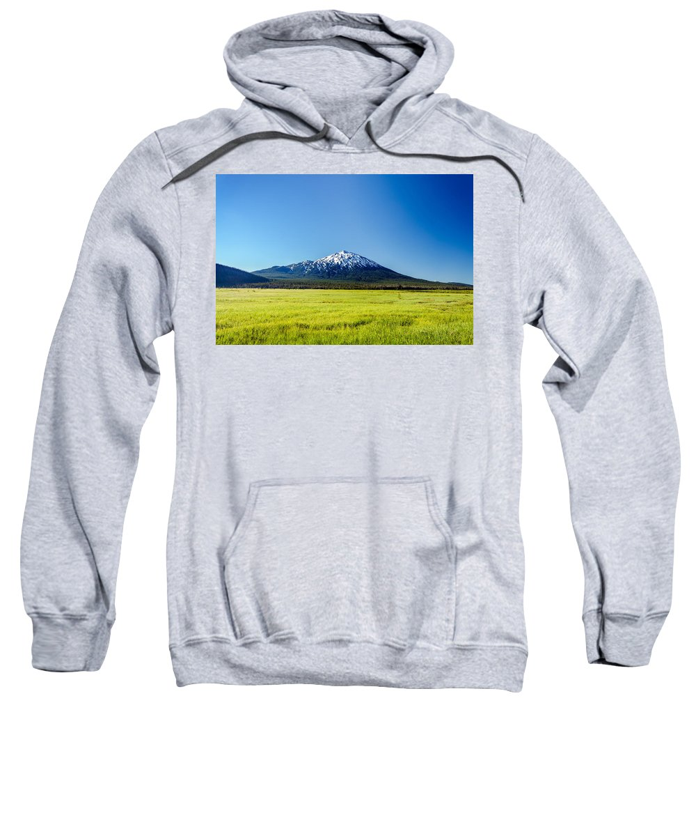 Mountain Sweatshirt featuring the photograph Lush Green Meadow And Mount Bachelor by Jess Kraft