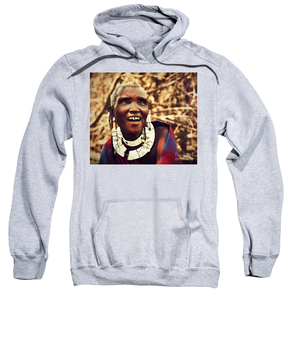 Africa Sweatshirt featuring the photograph Maasai Old Woman Portrait In Tanzania by Michal Bednarek