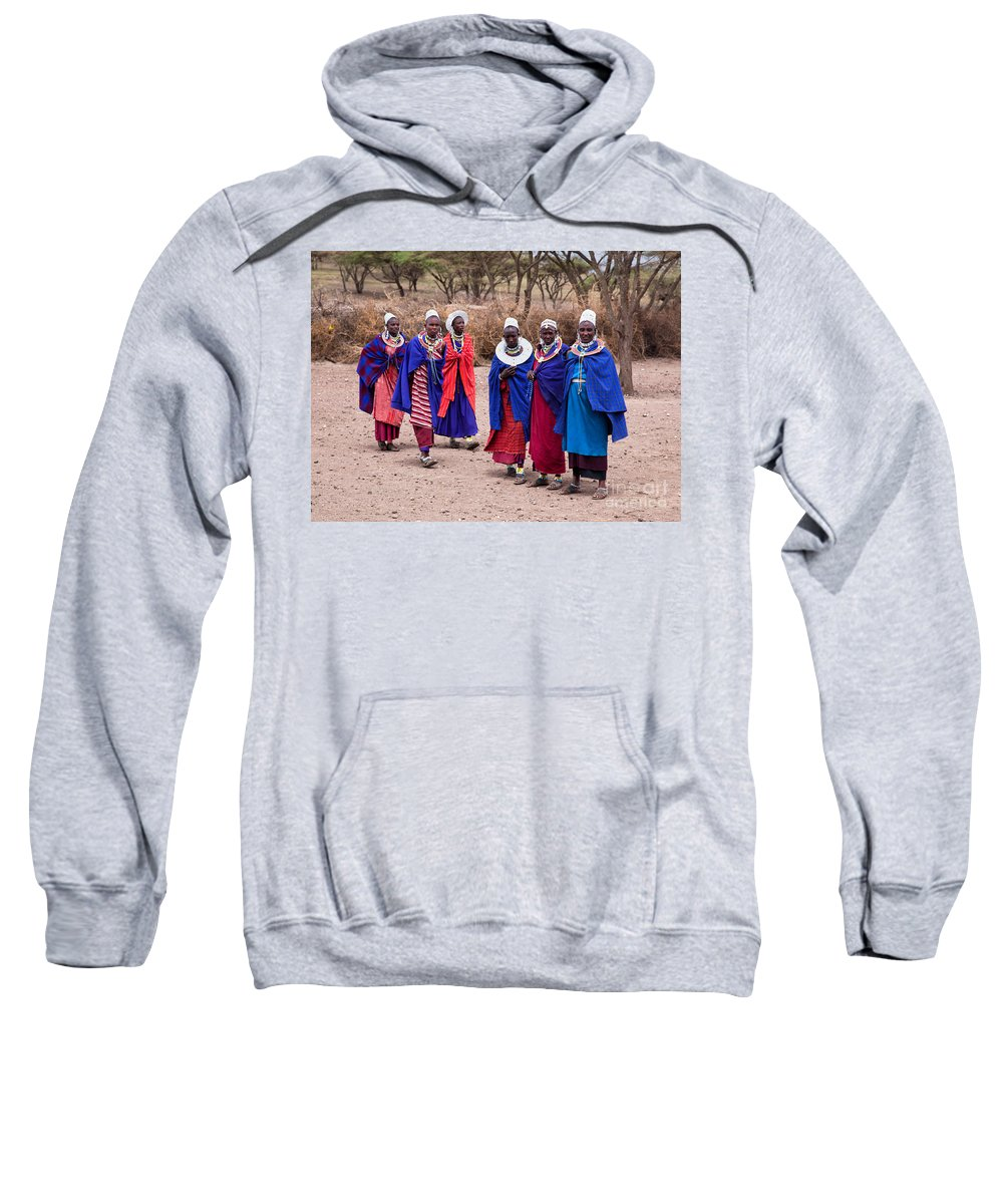 Village Sweatshirt featuring the photograph Maasai Women In Front Of Their Village In Tanzania by Michal Bednarek