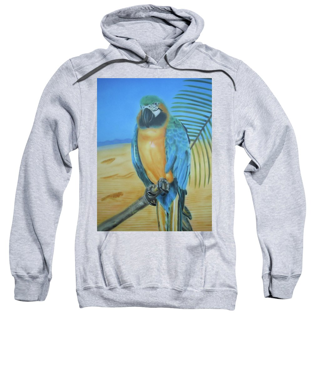 Cockatoo Sweatshirt featuring the painting Macaw On A Limb by Thomas J Herring