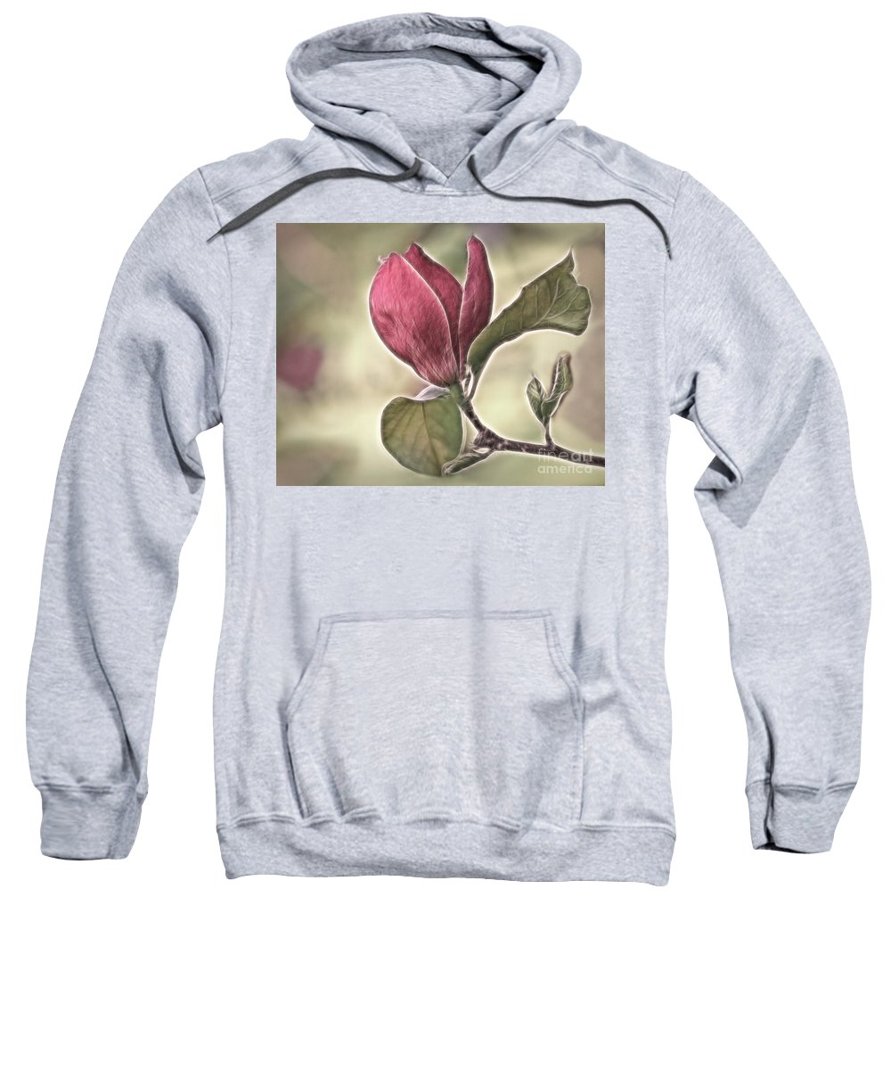 Magnolia Sweatshirt featuring the photograph Magnolia Glow by Susan Candelario