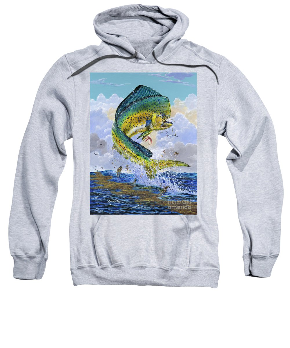 Dolphin Sweatshirt featuring the painting Mahi Hookup Off0020 by Carey Chen