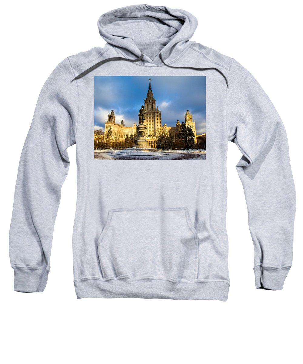 Architecture Sweatshirt featuring the photograph Main Building Of Moscow State University On Sparrow Hills - 2 - Featured 3 by Alexander Senin