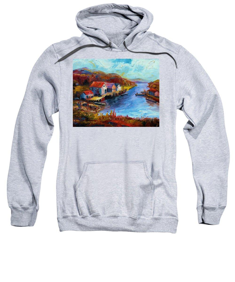 Harbor Sweatshirt featuring the painting Maine Harbor by Leonard Holland