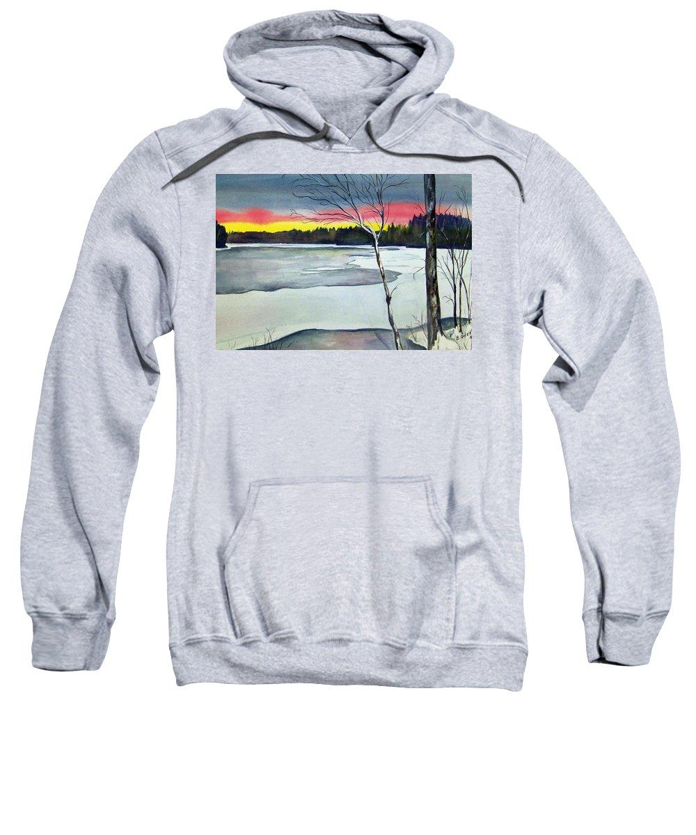 Landscape Sweatshirt featuring the painting Maine Winter Sunset by Brenda Owen
