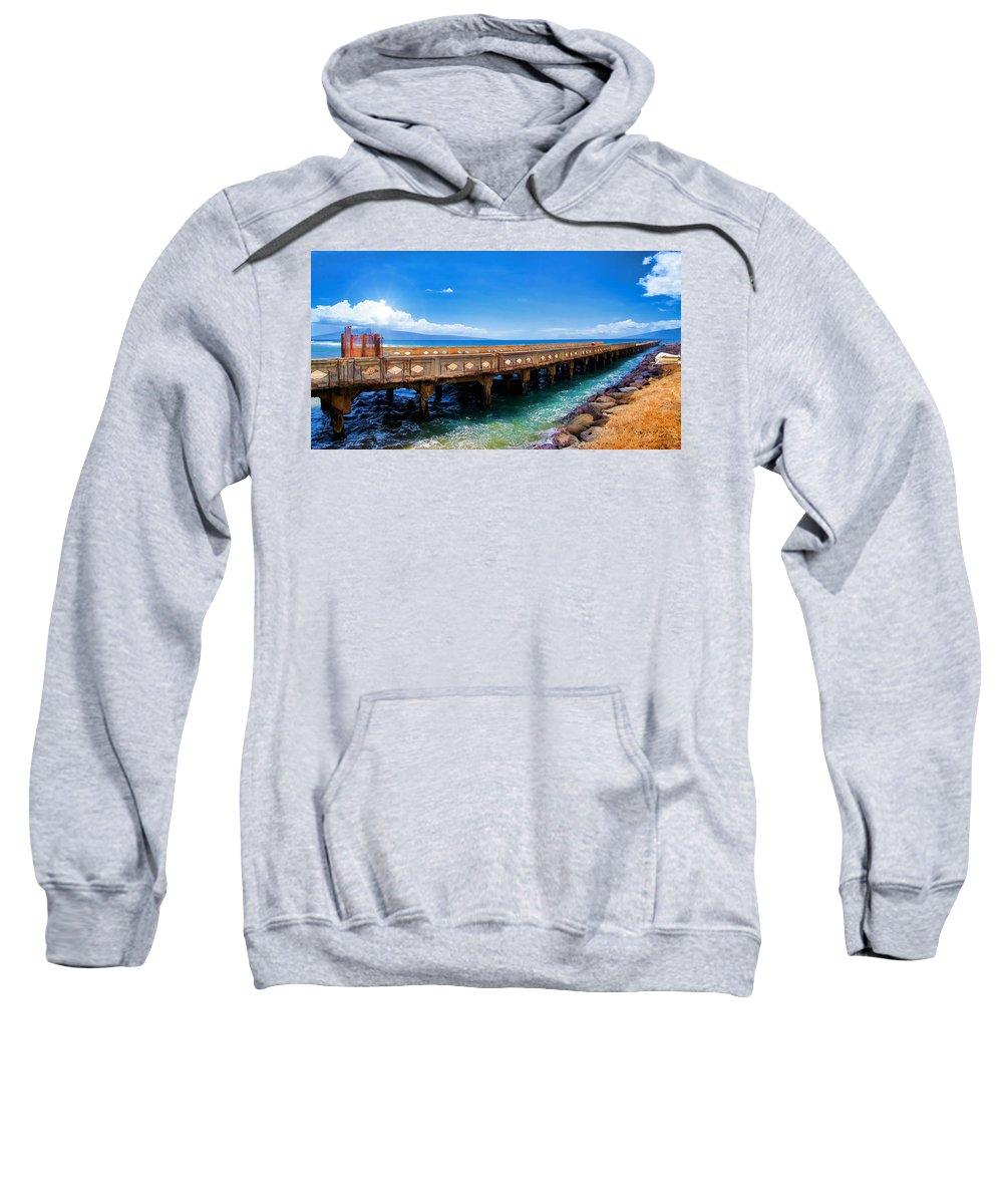 Wharf Sweatshirt featuring the photograph Mala Wharf Panorama 1 by Dawn Eshelman