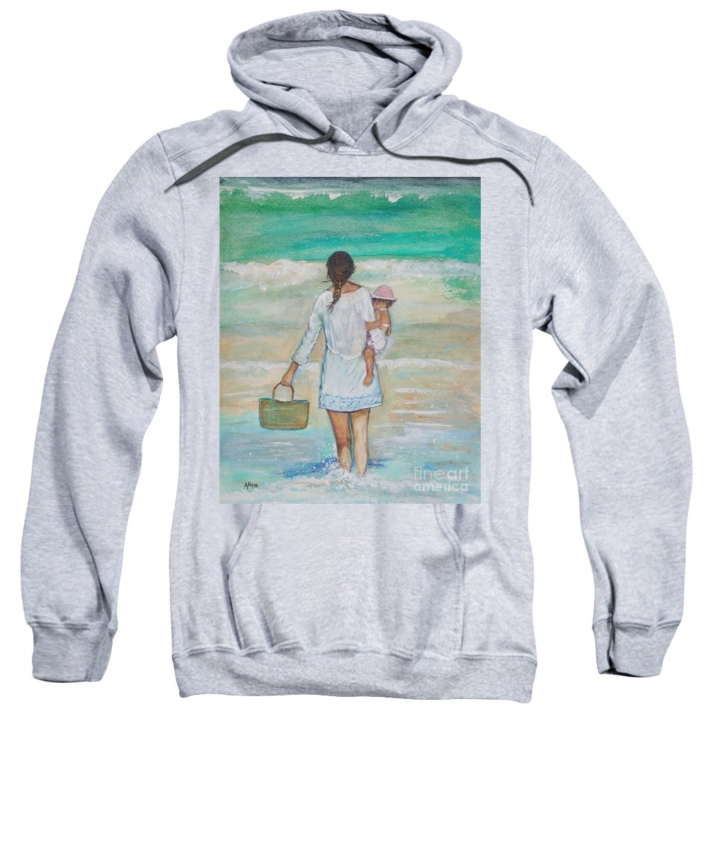 Mother Painting Sweatshirt featuring the painting Mama's Beach Day by Leslie Allen