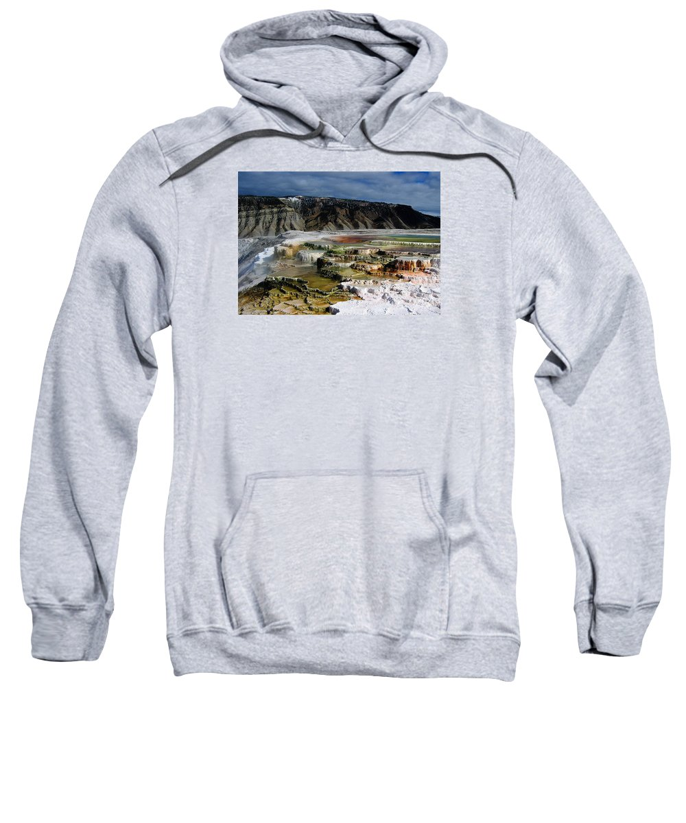 Mammoth Hot Springs Sweatshirt featuring the pyrography Mammoth Hot Springs by Robert Woodward