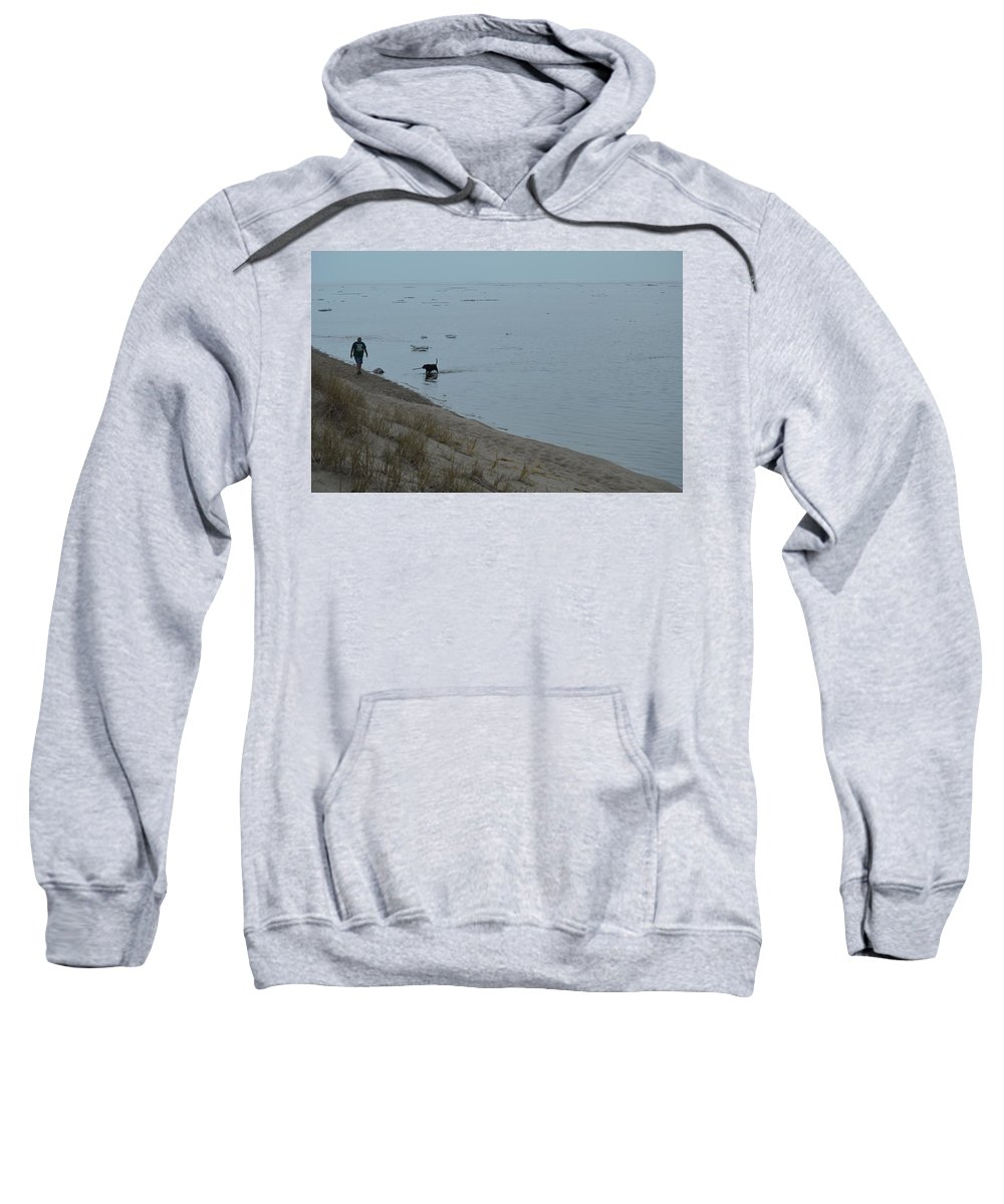 Great Lakes Sweatshirt featuring the photograph Man And Dog by Linda Kerkau