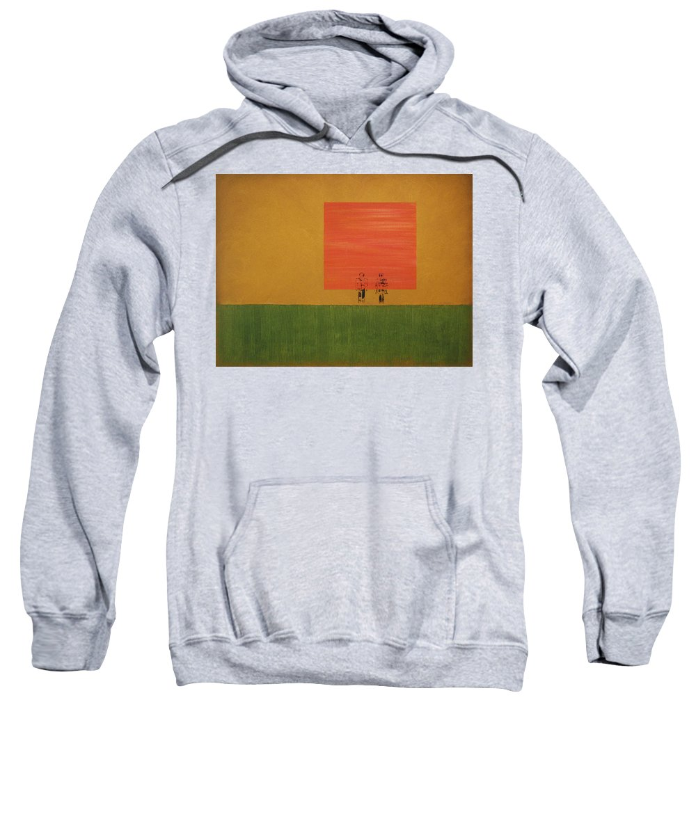 Oil On Canvas Sweatshirt featuring the painting Man On The Brink by David Hansen
