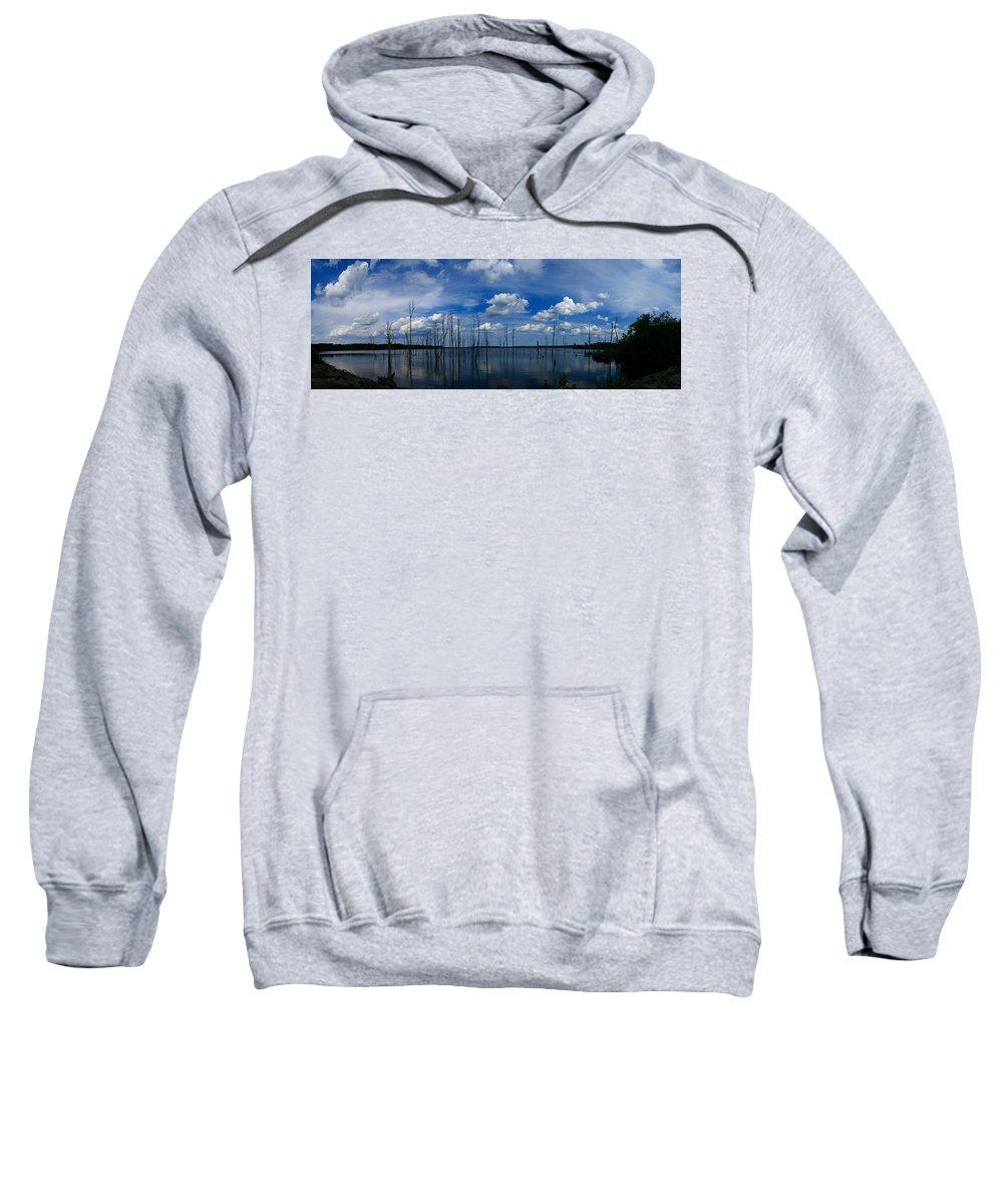 Manasquan Reservoir Panorama Sweatshirt featuring the photograph Manasquan Reservoir Panorama by Raymond Salani III