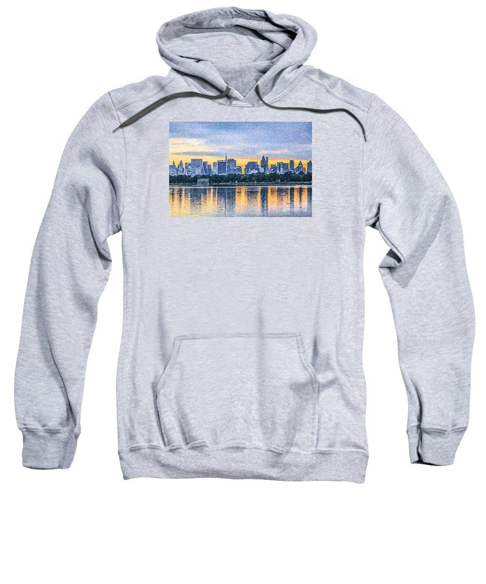 Manhattan Skyline Sweatshirt featuring the digital art Manhattan Skyline From Central Park Reservoir Nyc Usa by Liz Leyden