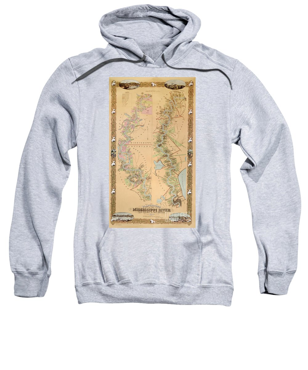 Map Depicting Plantations On The Mississippi River From Natchez To New Orleans Sweatshirt featuring the drawing Map Depicting Plantations On The Mississippi River From Natchez To New Orleans by American School