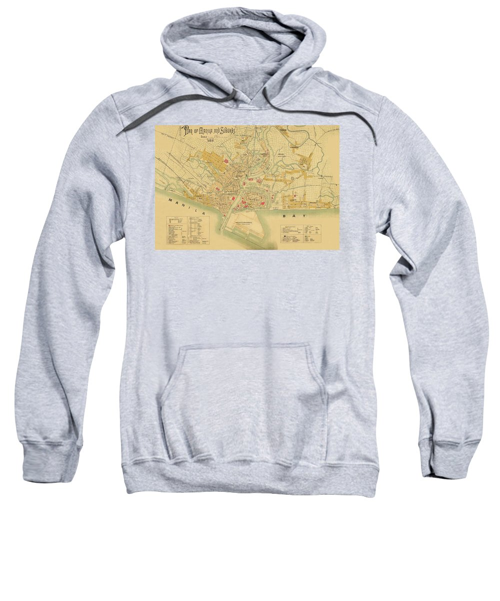 Map Of Manila Sweatshirt featuring the photograph Map Of Manila 1899 by Andrew Fare