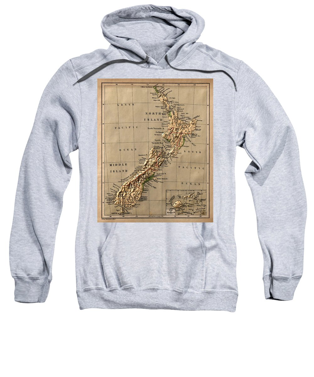 New Zealand Sweatshirt featuring the photograph Map Of New Zealand 1880 by Andrew Fare