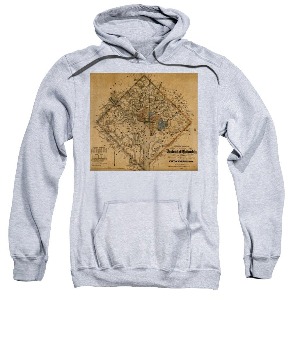 Washington Sweatshirt featuring the photograph Map Of Washington 1862 by Andrew Fare