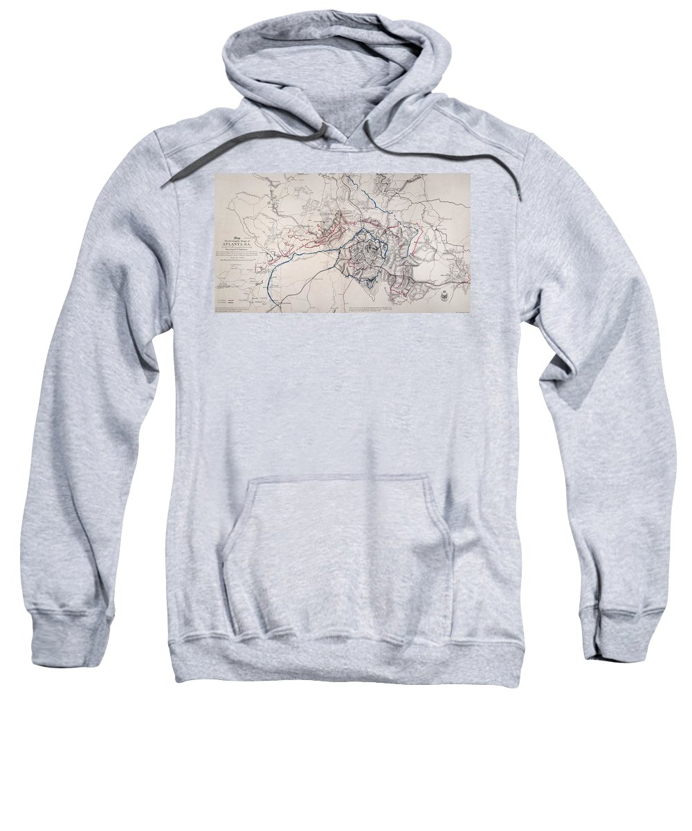 1864 Sweatshirt featuring the photograph Map: Siege Of Atlanta 1864 by Granger