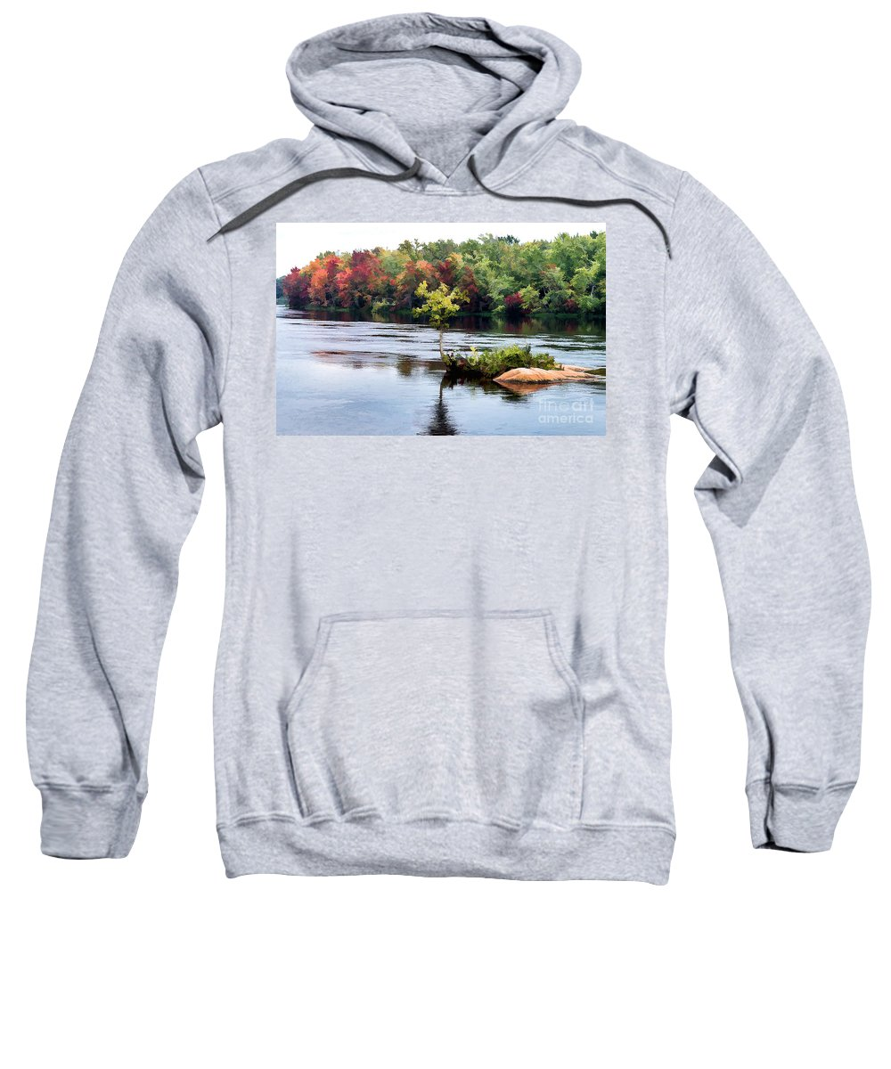 Small Sweatshirt featuring the photograph Maple Tree On A Rocky Island - V2 by Les Palenik