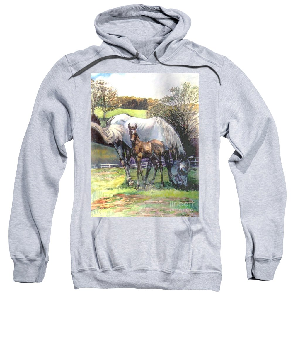 Horse Sweatshirt featuring the painting Mare And Foal by Stan Esson