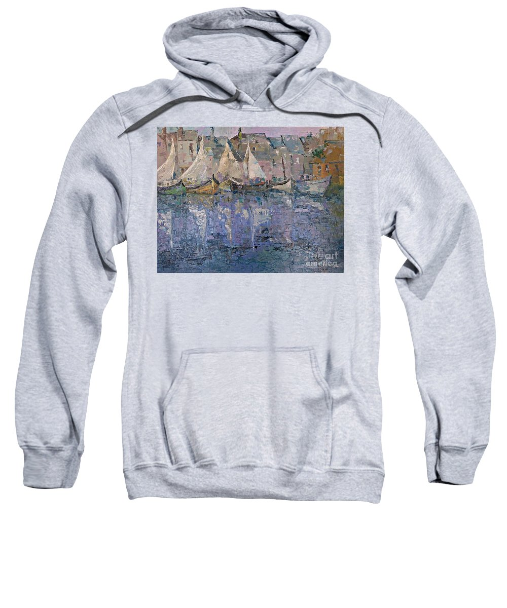 Marina Sweatshirt featuring the painting Marina by Amalia Suruceanu
