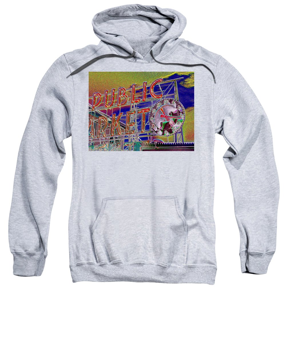 Seattle Sweatshirt featuring the digital art Market Clock 1 by Tim Allen