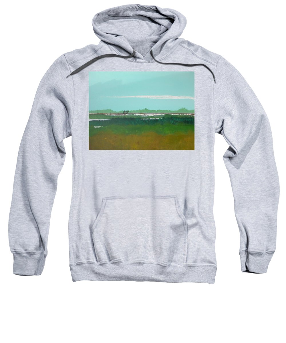 Beach Sweatshirt featuring the painting Marsh Pier by Rhodes Rumsey