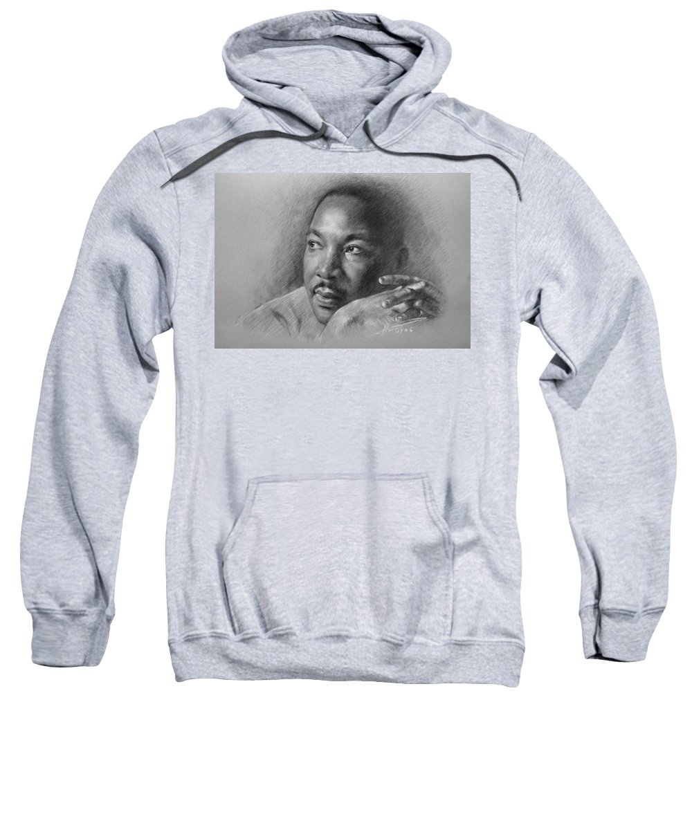 Portrait Sweatshirt featuring the drawing Martin Luther King Jr by Ylli Haruni