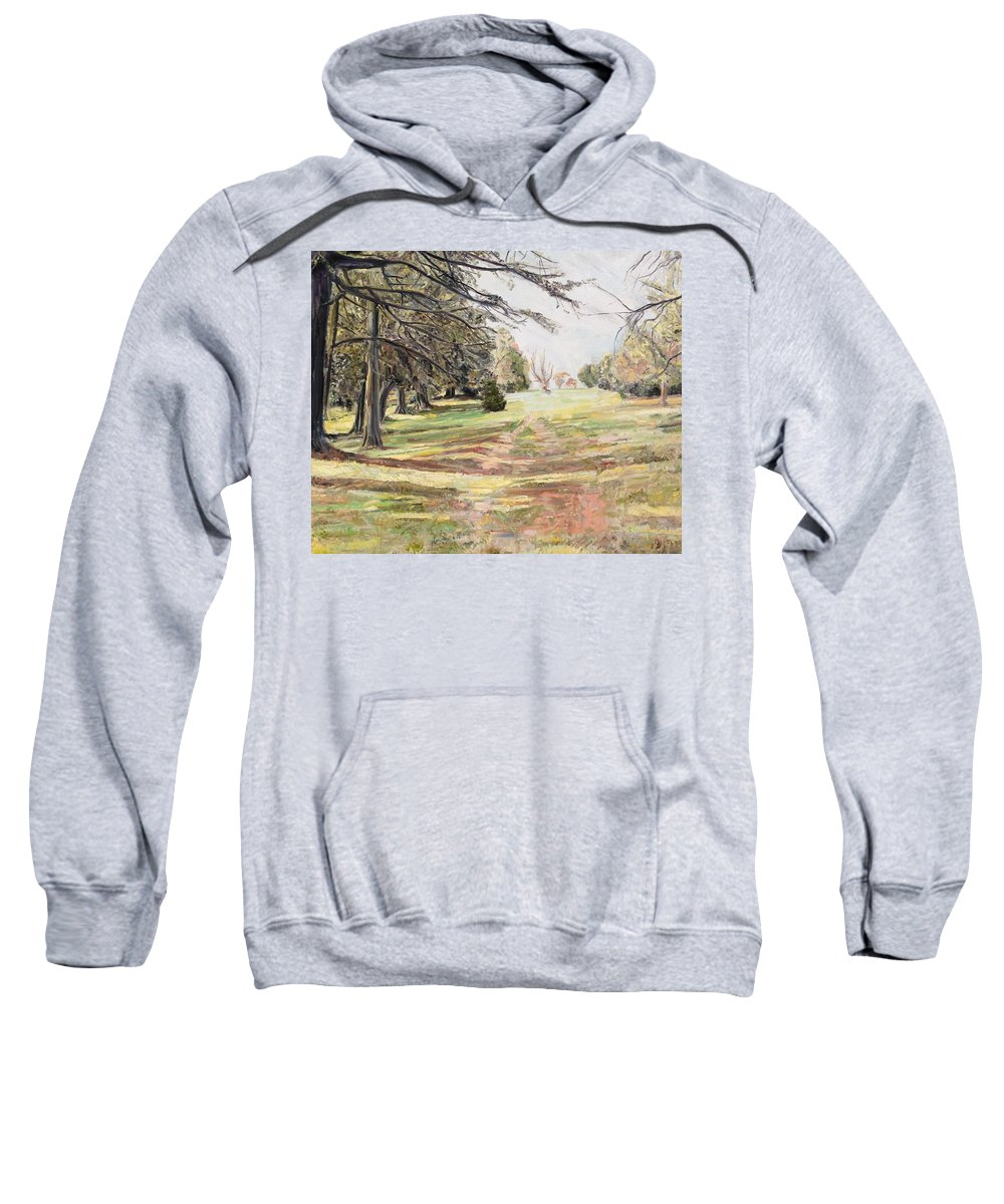 Maymont Park Sweatshirt featuring the painting Maymont Landscape by Chris Grocholski